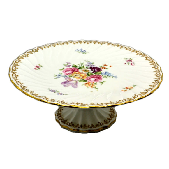 Crown Staffordshire England's Bouquet Porcelain China Cake Stand 10.25-inch