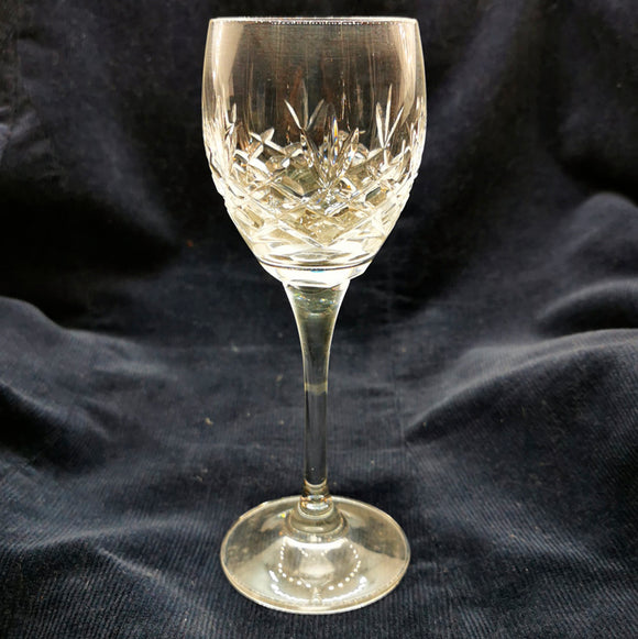 Pair of Lead Crystal Tulip Bowl Small White Wine Glasses