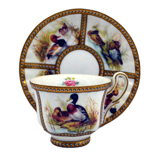 Orchid china porcelain demitasse cup and saucer ducks