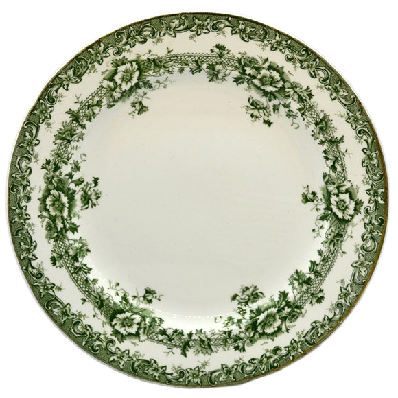 Keeling & Co Devon 9.5 inch Plates Antique green and white china c1904
