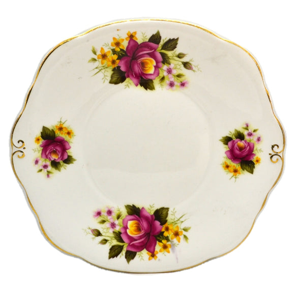 Duchess Bone China 344 Red and Yellow Roses Cake Plate