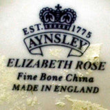 aynsley elizabeth rose china marks with remnants of price label