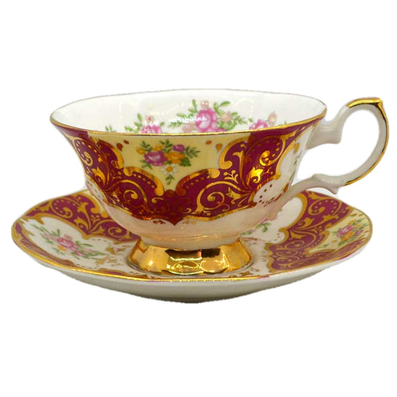 Elizabethan China Floral Balmoral Red Teacup and Saucer
