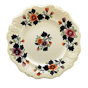Antique English Rococo Ironstone Floral China Plate