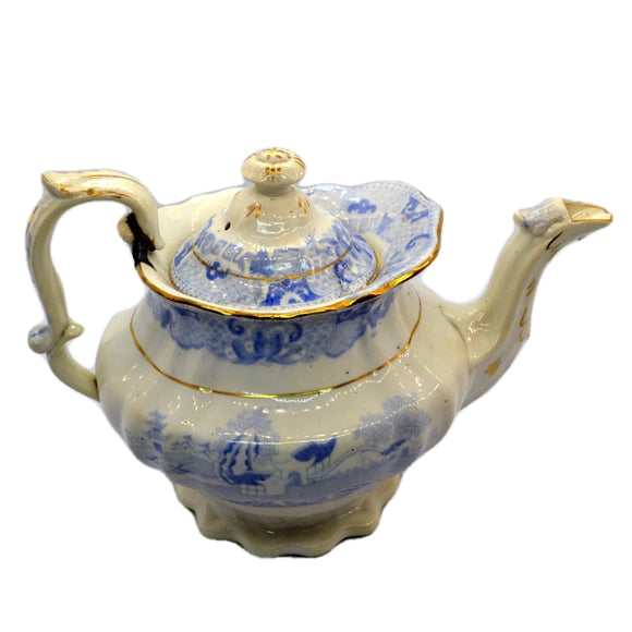 Antique Blue and White Willow Two Temples Teapot c1840