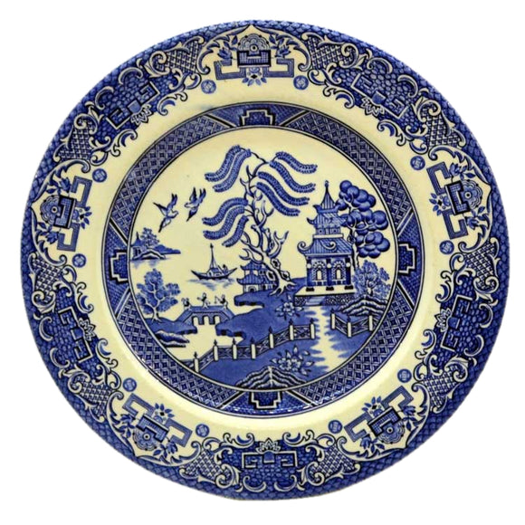 english ironstone old willow plate