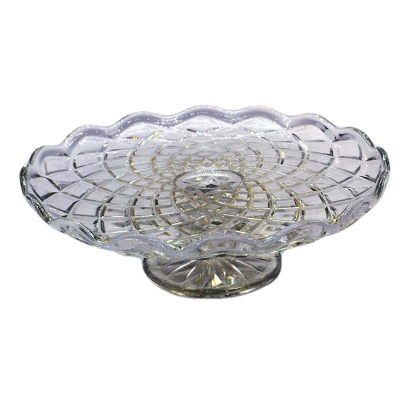 Quarter molded vintage english pressed glass cake stand
