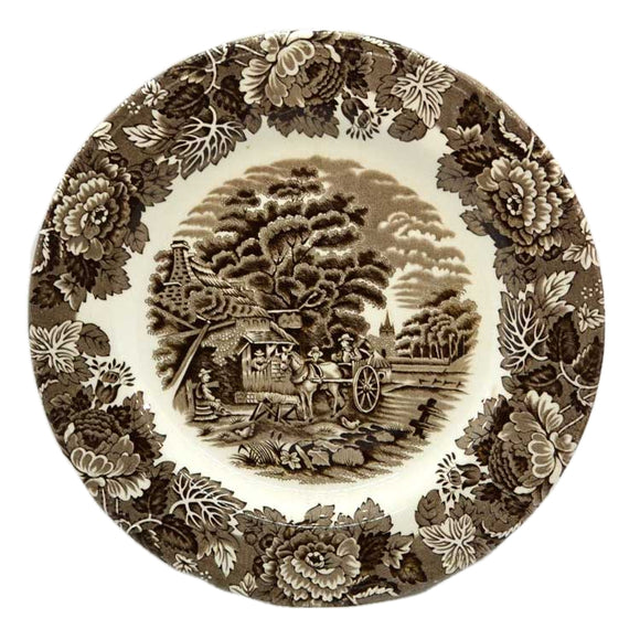 Woods Ware English Scenery Brown and White China Dessert Plate