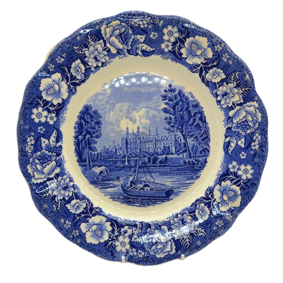 Vintage blue and white china dinner plate eton college by palissy pottery