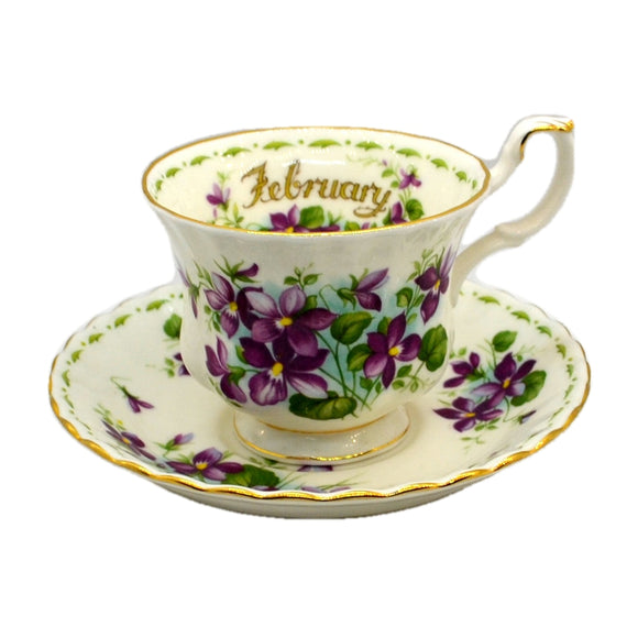 Royal Albert Flowers of the Month Series Floral China Tea Cup Violets February