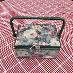 floral vintage sewing basket