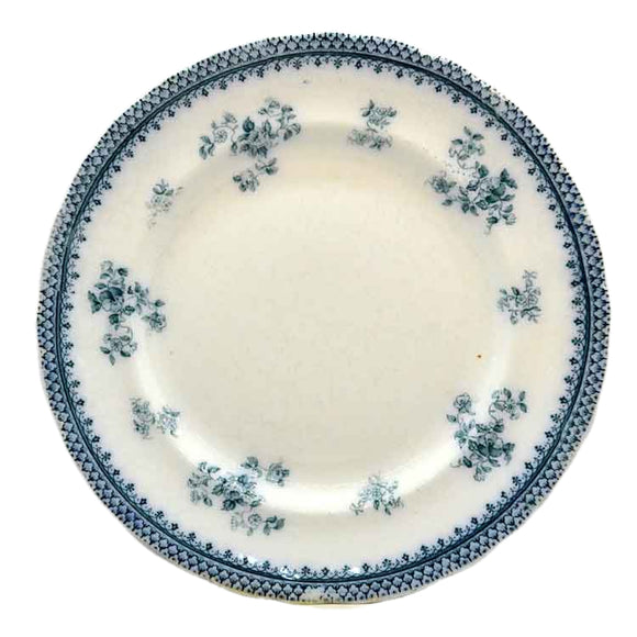 Antique Burgess & Leigh Florida Blue and White Floral China Dinner Plate c1912