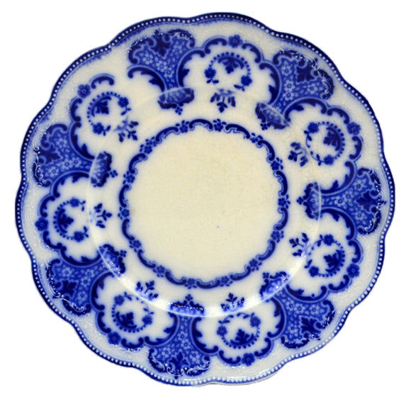 Antique Flow Blue China Plate by Frederick Booth 1881