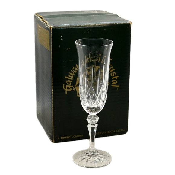 Galway Crystal Longford Fluted Champagne 24% Lead Crystal Glasses X 4 Boxed