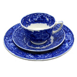 Antique George Jones & Sons Abbey Flo Blue and White China Teacup trio