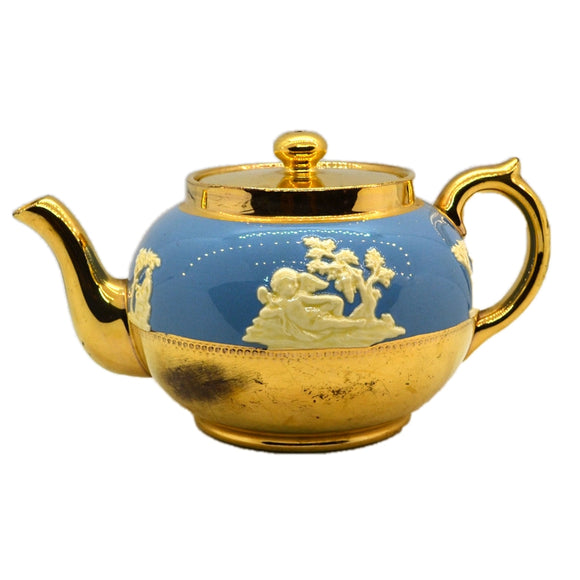 Gibsons Teapot circa 1950's 2 pint Jasper Ware and Gilt