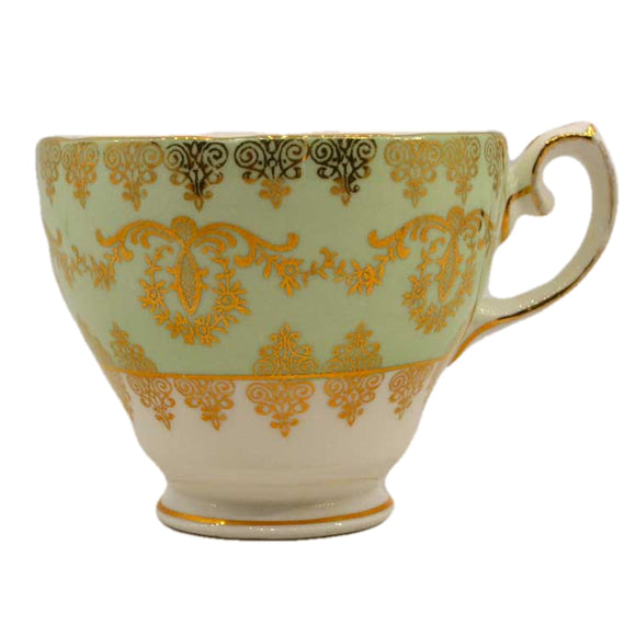 gladstone china teacup 5846 green and gilt teacups