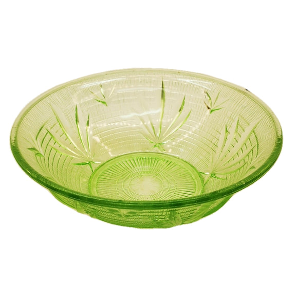 Vintage Green Pressed Glass Bowl