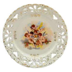 Antique Four Cherub Pierced China Cabinet Plate