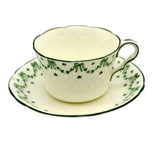 Jackson and Gosling Grosvenor Green and White China Perth 5200 Teacup and Saucer