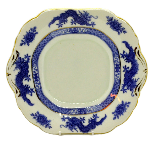 Hammersley & Co china cake plate blue dragon
