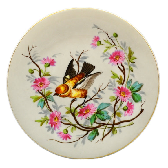 Hand Painted French Porcelain Bird and Floral China Cabinet Plate