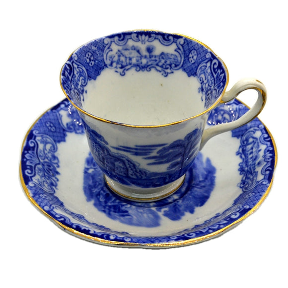 Heathcote Blue and White China Old English Scenery Teacup & Saucer