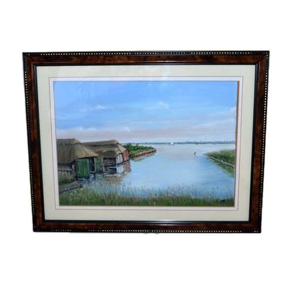 Hickling Broad Norfolk Boat Houses Original Pastel under Glass Picture