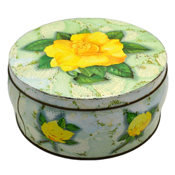 Vintage Huntley and Palmer Round Yellow Rose Biscuit Tin