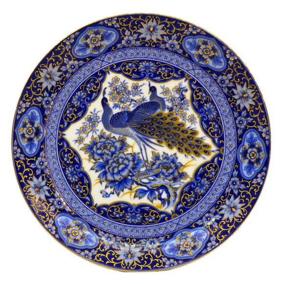 Imperial Peacock Blue and Gilt Arnart Japanese Cabinet Plate