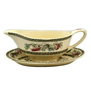 Johnson Brothers Indian Tree China Gravy Boat and Saucer