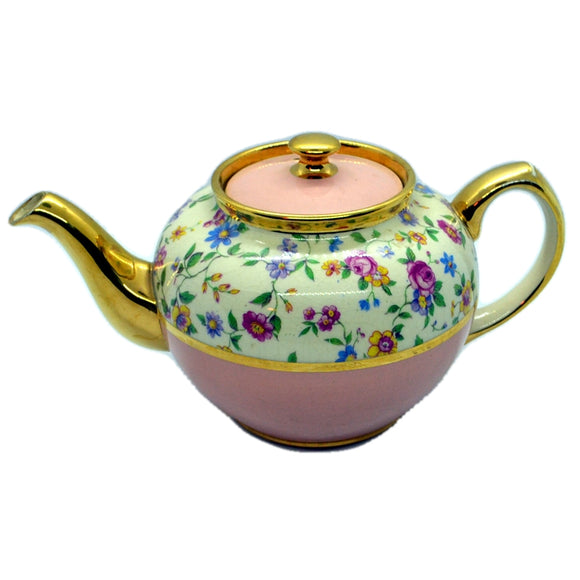 james sadler vintage floral and pink teapot