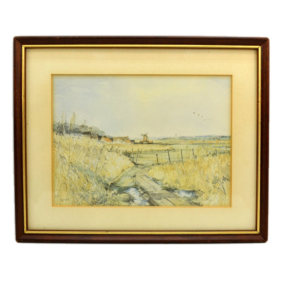 Jason Partner Framed Watercolour Print of Cley Windmill Norfolk