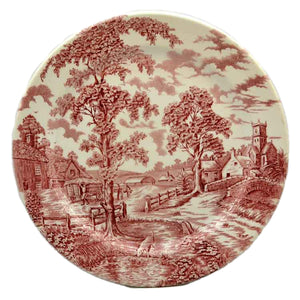 John Maddock & Sons Royal Ultra Vitrified Red and Whitel China Plate