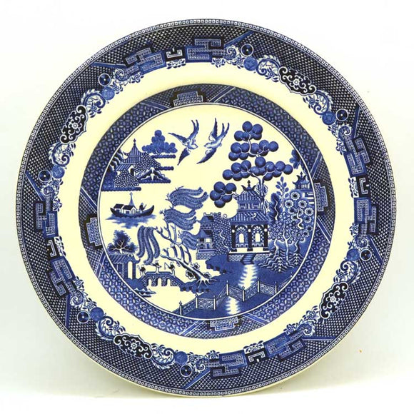 vintage blue and white china johnson bros willow dinner plate