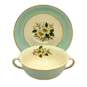 Johnson Brothers China Pareek Pistacio Snowhite Range Soup Cup and Saucer