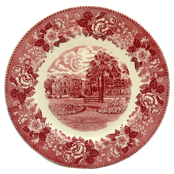 Antique Jonroth Red and White China Alamo Plate