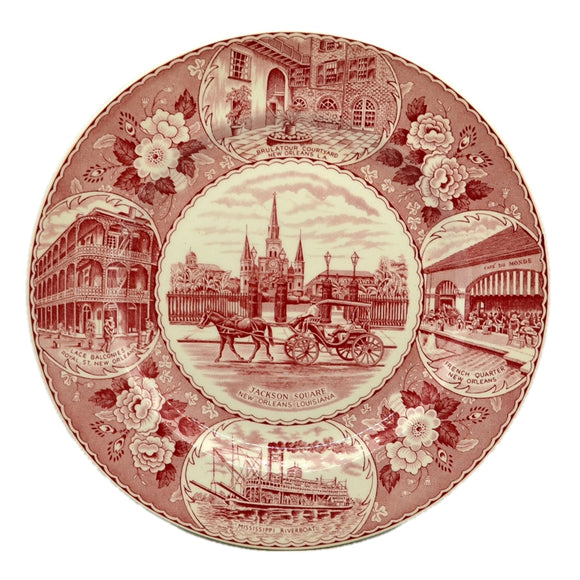 Antique Jonroth Red and White China Jackson Square Plate