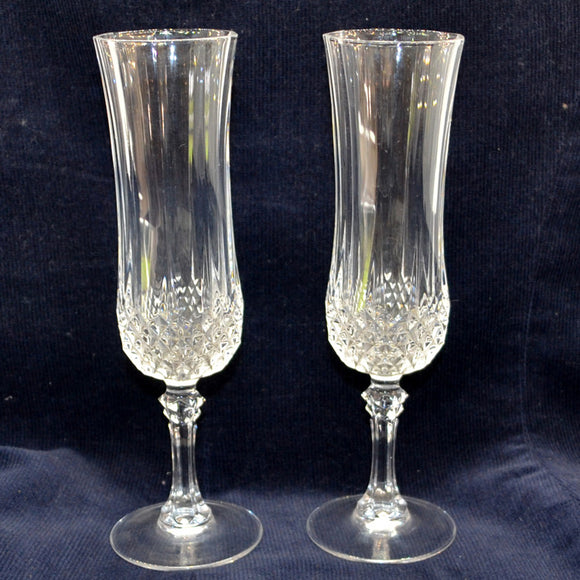 Pair of Heavy Tulip Pressed Glass Champagne Glasses