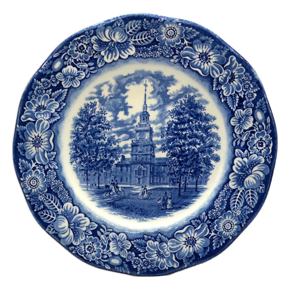 Enoch Wedgwood & Co Liberty Blue and white china Independence Hall plate