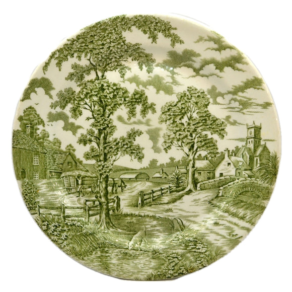 John Maddock & Sons Royal Ultra Vitrified Green and Whitel China Plate