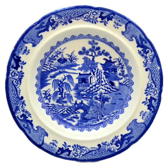 Antique Masons Ironstone Blue & White Willow China 9.5-inch Soup Bowl