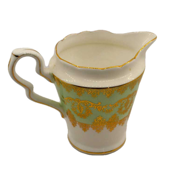 gladstone china teacup 5846 green and gilt milk jug