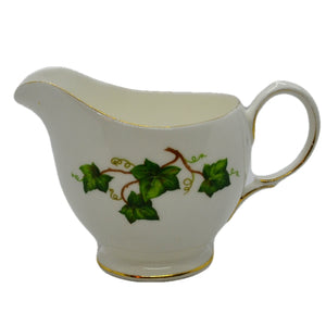plain rim 1/2 pint milk jug ivy leaf colclough china