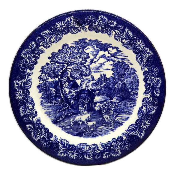 Vintage Blue and White china Water Mill 10.25 inch Dinner Plate