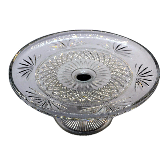 Early English pressed glass cake stand