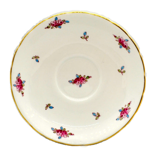 New Chelsea Pattern 1433 Pink Rose Bud Floral China 6.25-inch Saucer