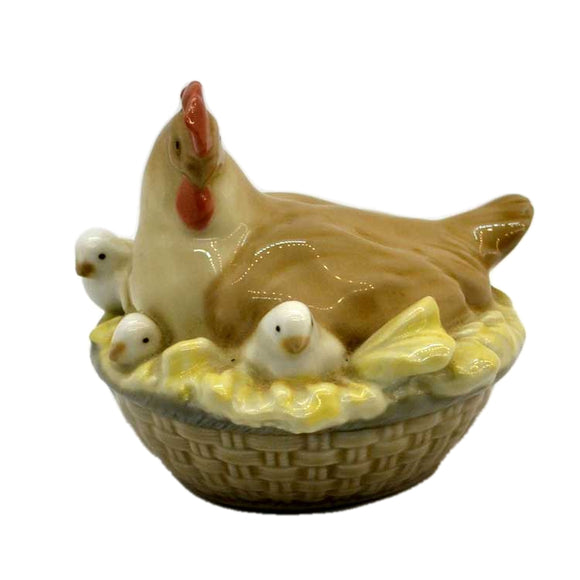 Lladro china chicken and chicks in basket