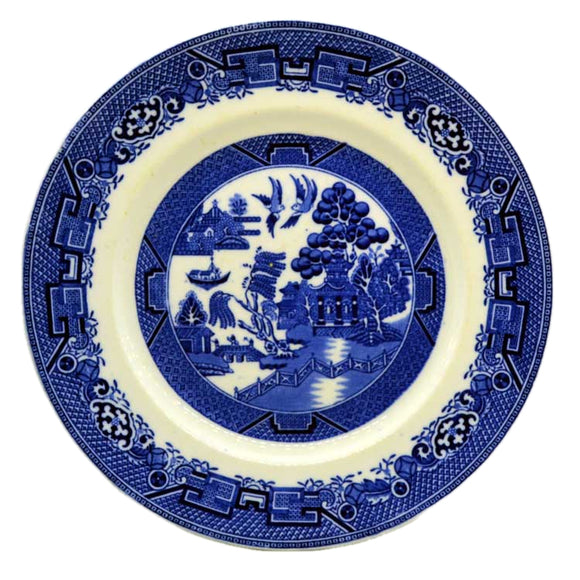 Vintage blue and white china willow dinner plate