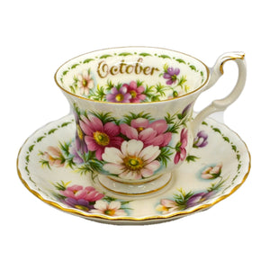Royal Albert Flowers of the Month Series Floral China Tea Cup Cosmos October